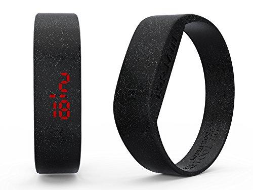 too 2 late Unisex Erwachsene Analog-Digital Uhr mit Silikon Armband LED Glitter Black M