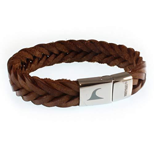 WAVEPIRATE® Echt Leder-Armband Tarifa F15 Cognac 21 cm Edelstahl-Verschluss in Geschenk-Box Surfer Männer Herren