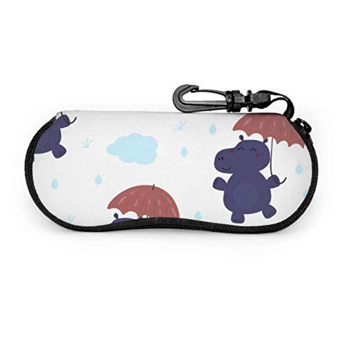 sherry-shop Estuche de gafas con mosquetón Paraguas de hipopótamo lindo Estilo de...