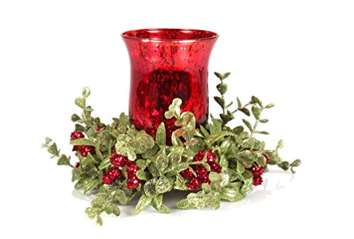 Kissing Krystals Small Red Mecury Glass Hurrican Candle Holder and Mistletoe Set by Ganz by Ganz