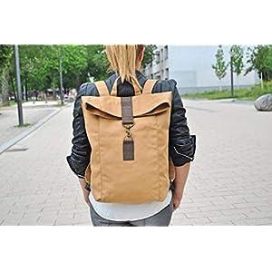 Beige Canvas Rucksack, wasserabweisend, groß, Laptop Tasche, Damen Tasche, Herren Tasche, Segeltuch, Backpack, Unisex…