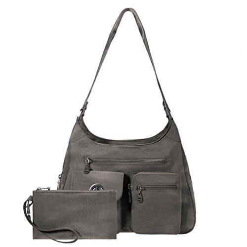Baggallini San Marino Satchel Shoulder Handbag Bundle with complimentary Travel Earphones (Sterling Shimmer)