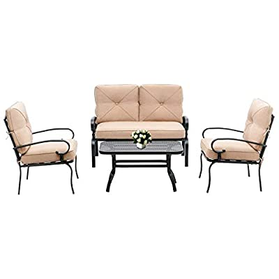 Oakmont Outdoor Furniture Patio Conversation Set Loveseat, 2 Chairs, Coffee Table with Cushion, Lawn Front Porch Garden, Metal Chair Set Wrought Iron Look (Brown)