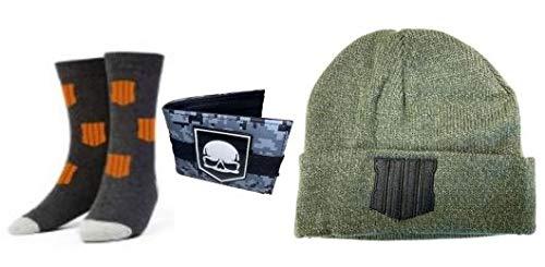 Call of Duty Black Ops 4 Warefare Beanie, Grey Skull Wallet and Charcoal/Orange Crew Socks Gift Bundle