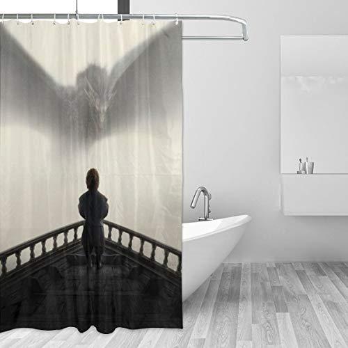BLACKbiubiubiu Cortina de ducha impresa de Juego de Tronos de 152 x 182 cm, cortina impermeable para baño
