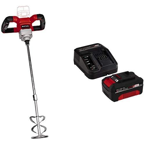 Einhell 4258760 TE-MX 18 Li Solo - Mezclador de mortero con batería, color rojo y negro + Kit con Cargador y batería de repuesto de 18 V, 4 Ah, 0 W, 21 V, Negro, Rojo, 4.0, Tiempo de Carga 60 Minutos