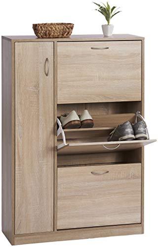 ts-ideen - Zapatero de madera de roble sonoma marrón con 3 compartimentos y 1 puerta de 120 x 80 cm