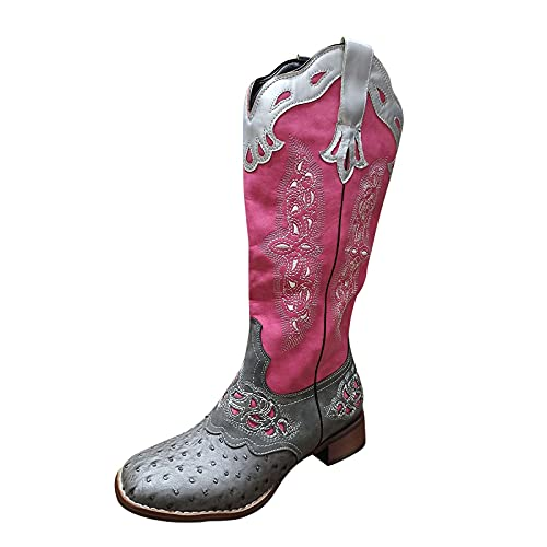 Fullwei Cowboy Boots for Women,Women Vintage Cowgirl Mixed Colors Embroidery Ethnic Western Boot Mid Wide Calf Pull-Up Motorcycle Riding Boot Walking Shoe (Pink, 7.5)