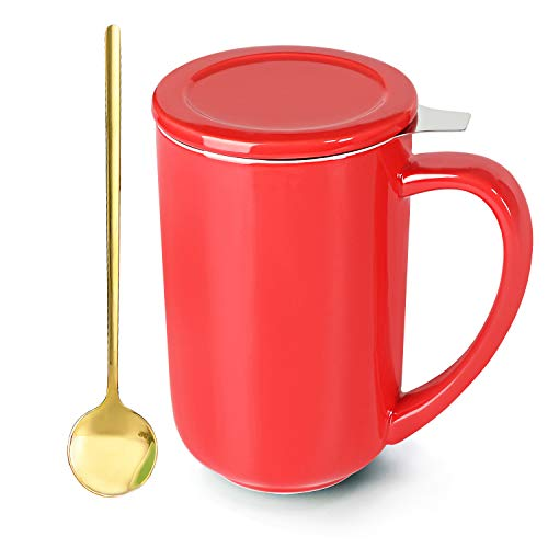 MUZITY Tea Mug with Stainless Steel Spoon Infuser and Lid - Ceramics Loose Leaf Tea Steeping Cups for Office and Home 16OZ Red