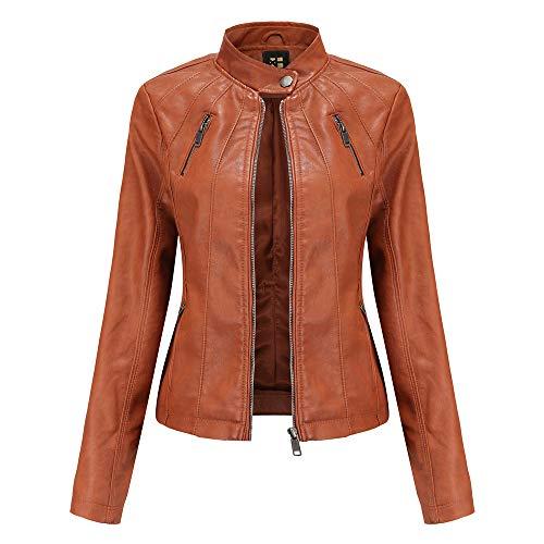 QinzQuic Mujer Moda Jacket PU Leather Largo-sleeved primavera y otoño Jacket Zipper Pocket Motorcycle Jacket Slim 4 Colors