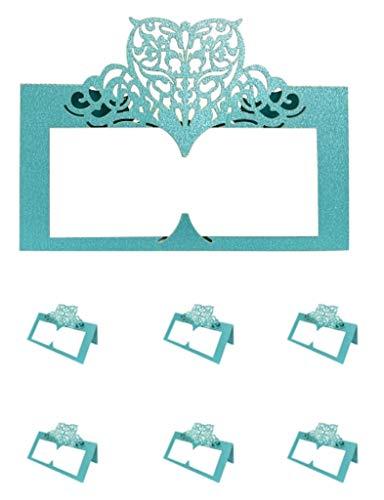 Sweet+ 結婚式 席札 名前 カード パーティー 装飾 名前札 メッセージカード プレイスカード 折り畳み式 (Bミントグリーン, 60枚)