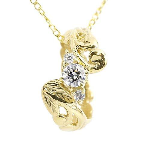 [アトラス] Atrus ネックレス レディース 18金 イエローゴールドk18 ダイヤモンド ハワイアンジュエリー ベビーリング 4月誕生石 チェーン(sv925イエローメッキ)