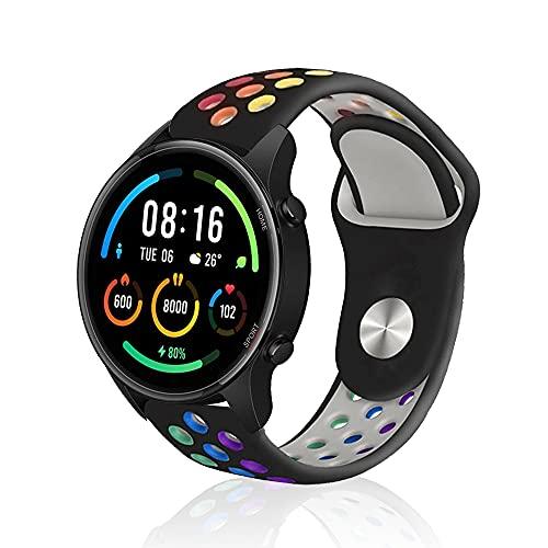 Rosok Transpirable Watch Correa Compatible con Xiaomi Mi Watch (22mm), Deportivas de Silicona Arco Iris Correas de Repuesto para Xiaomi Mi Watch (22mm) - Negro