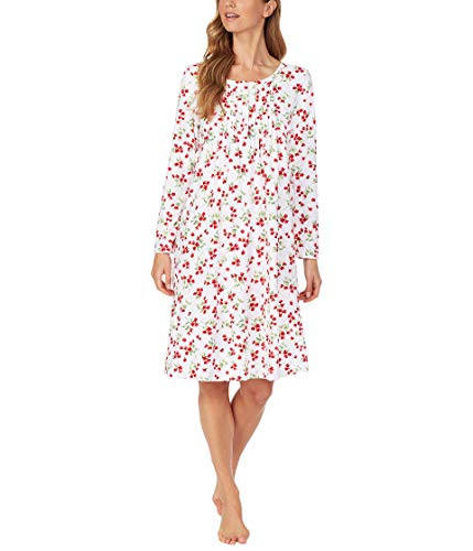 Carole Hochman Baby Fleece Waltz Long Sleeve Gown White/Red Floral LG