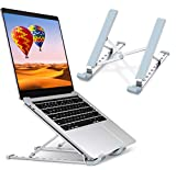 "Laptop Stand, Laptop Holder Riser Computer Stand, Aluminum 9-Angles Adjustable Ventilated Cooling Notebook Stand Mount Compatible with MacBook Air Pro, Lenovo, Dell, More 10-15.6"" Laptops - Silver"