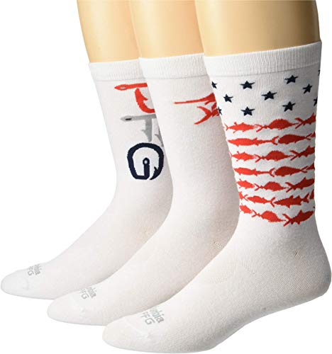Columbia Mens PFG Americana Crew Socks 3 Pair Shoe Size 6 12 US Hiking White 10 13