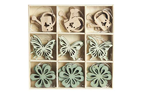 HEITMANN DECO Osteranhänger aus Holz - Schmetterlinge, Blumen, Gießkannen - Osterdeko, Frühlingsdeko - 36-teilig, Blau, Natur, Grün