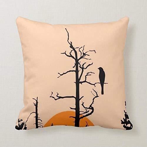 Perfecone Home Improvement - Funda de almohada (80 x 80 cm), diseño de pájaros en la noche