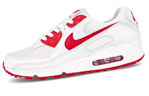 Nike Air MAX 90, Zapatillas para Correr para Hombre, White Hyper Red Black, 42 EU
