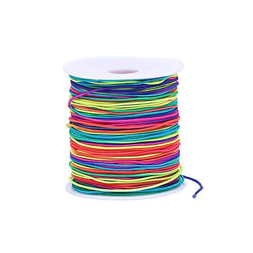 Bingcute 1.0MM Rainbow Elastic Cord Beading Threads Stretch String Fabric Crafting Cords for Jewelry Making, 100 Yard (Rainbow)