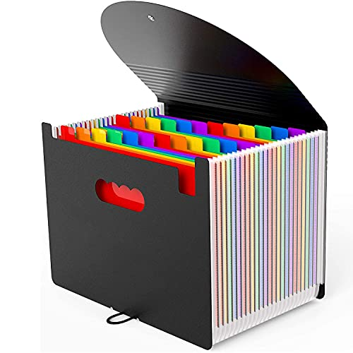 24 Pockets Expanding File Folder,Accordion File Organizer with Expandable Cover,Portable A4 Letter Size File Box,High Capacity Plastic Colored Paper Document Receipt Organizer Filing Folder Organizer