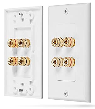 Fosmon Home Theater Wall Plate - Premium Quality Gold Plated Copper Banana Binding Post Coupler Type Wall Plate  White   Two Speaker