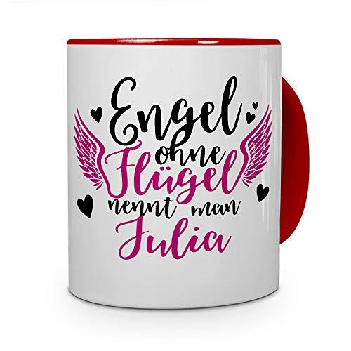 printplanet Tasse mit Namen Julia - Motiv Engel - Namenstasse, Kaffeebecher, Mug, Becher, Kaffeetasse - Farbe Rot