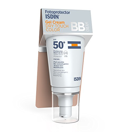 Fotoprotector ISDIN Gel Cream Dry Touch Color SPF 50+, fotoprotección BB Cream con toque seco y mate, 50 m