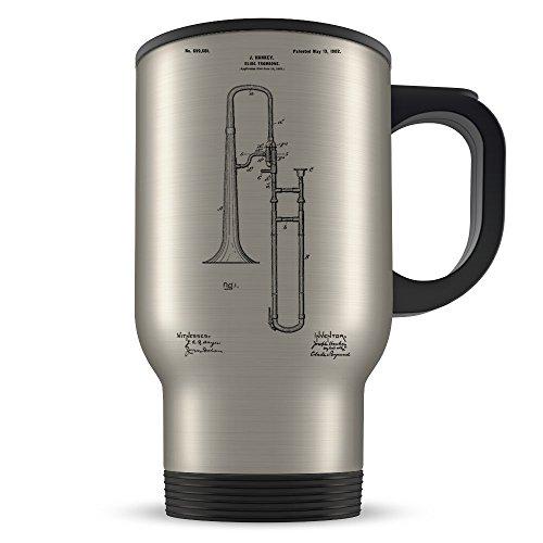 Trombone Travel Mug for Men and Women - Trombone Mug for Music Teacher or Player - Best Brass Instrument Themed Gift Idea - Cool Invention Patent