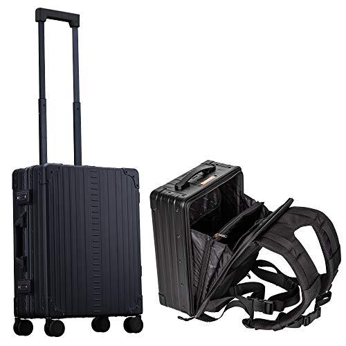Alu Hartschalenkoffer mit 4 Rollen & Rucksack Set. Handgepäck Reisekoffer/Trolley (schwarz/Onyx) mit Alu Rucksack mittelgroß. Rollkoffer/Trolly Set Handgepäck für Reisen & Coolife.