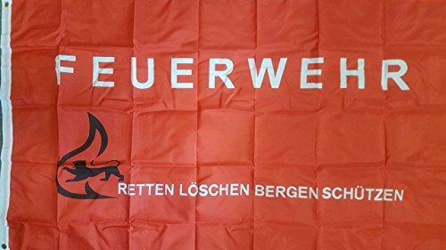 Flaggenking Retten-Löschen-Bergen-Schützen - wetterfest Feuerwehr Fahne/Flagge, Mehrfarbig, 150 x 90 x 1 cm