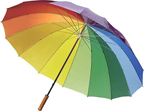 FUN FAN LINE – Paraguas Manual de 16 Paneles Multicolor  en Nylon, puño Recto de Madera, caña y Varillas de Metal para Mayor Resistencia Ideal para Mujer, Gay, LGBT