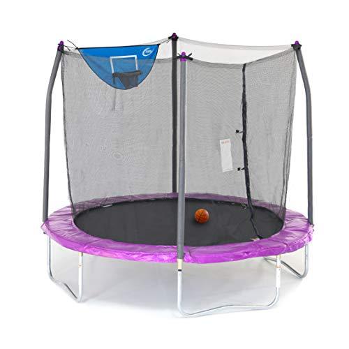 Skywalker Trampolines 8-Feet Jump N' Dunk Trampoline with Safety Enclosure and Basketball Hoop
