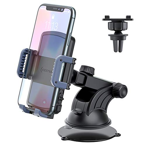 "Phone Holder Car Mount,OHLPRO 2-in-1Universal Suction Cup with Telescopic Extension Rod Car Dashboard Dash Windshield Air Vent for iPhone Samsung Sony Google All 4""- 6.4"" Smartphones"
