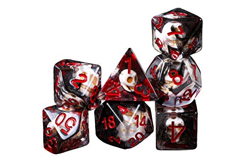Hell Skull of Death Necromancer DND Dice Set for Dungeons and Dragons, Gifts, D&D, D and D, Pathfinder, Accessories, D20, Polyhedral, Resin Dice, Metal, Dice Tray, Tower, Bag, Box