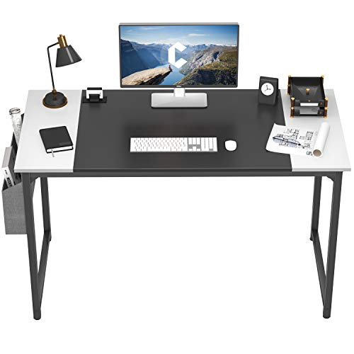 Cubiker Computer Desk 47 Inch Home Office Writing Desk Student Study Desk with Small Table and Storage Bag,Black and White