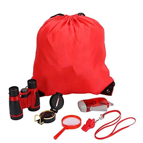 VGEBY1 Juego de binoculares de 6 Piezas, Juego Educativo de prismáticos de Juguete con Linterna de manivela, brújula, Lupa, Mochila con cordón, Silbato para niños, niños(Rojo)