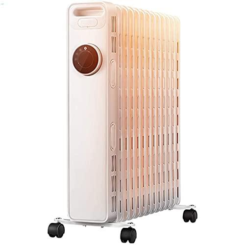 Calentador Hogar Radiador eléctrico Energía: Aving de aceite interior Almacenamiento calor Calentadores silenciosos Anti-Scalding Termostato ajustable portátil, 3 ajustes calor, Temporizador digital
