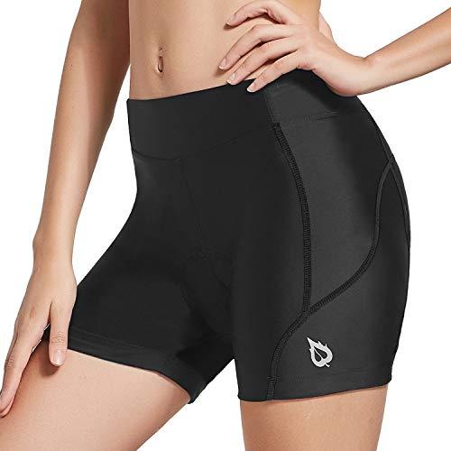 "BALEAF Women's 5"" Bike Shorts 3D Gel Padded Cycling Bicycle Biking Spin Underwear Biker Riding Shorts UPF 50+, Black S"