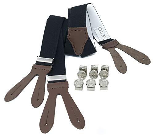 Xeira Herren Hosenträger mit Lederriemen und Knopfklips Schwarz Braun Standard 110cm