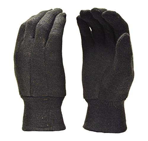 Heavy Weight 9OZ. Cotton Brown Jersey Work Gloves, Knit Wrist, Sold by Dozen (12-Pairs) - X-Large