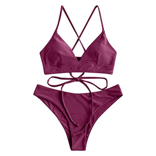 Yutdeng Damen Bikini-Set mit Schnürung Sonnenblume Druck Spaghetti-Träger Lace-up Gepolstert Zweiteilig Bademode Push Up Gepolsterte Badeanzug
