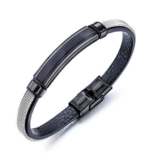 YINGLAN 2 Stück /Titan Stahl Mesh Gürtel Leder Armband Armband,Valentinstag Geburtstagsgeschenk
