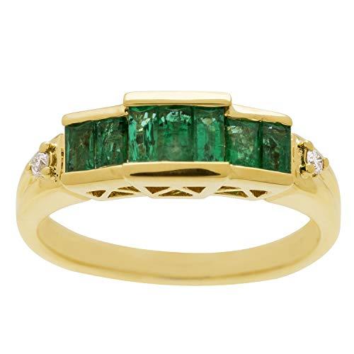 Gin & Grace Esmeralda natural de 18 quilates de oro amarillo con diamante (I1, I2) Proponer la promesa anillo para las mujeres