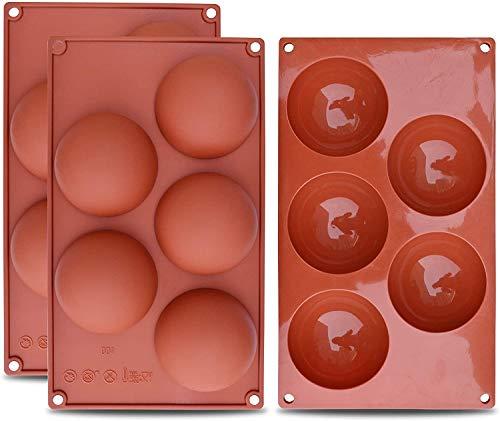 WENTS Backformen-Set Kuppelform Silikon 5 Mulden für Kuchendekoration, Gelee, Pudding, Süßigkeiten, Schokolade,halbrund, 3 Stück