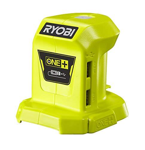 Ryobi Akku-USB Adapter (Spannung 18 V, Ladeanschlüsse 1,0 A/2,1 A, ohne Akku und Ladegerät) R18USB-0