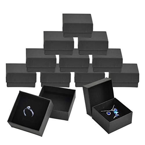 DODUOS 12 PCS Caja de Cartón con Esponja para Pulsera de 7x7x3,5cm Caja para Regalo Negras para Collar con Pegatina Caja de Papel para Joyería para Embalaje de Regalo, Pendientes, Collares, Pulsera