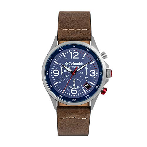 Columbia Canyon Ridge Stainless Steel Quartz Watch with Leather Strap, Brown, 10 (Model: CSC02-005)