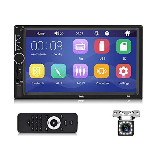 Autoradio bluetooth - autoradio doppio din con supporto touchscreen 7'', sistema vivavoce, MirrorLink, lettore multimediale MP5 con FM/USB/AUX/TF, autoradio con telecamera di retromarcia e telecomando