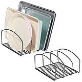 mDesign Juego de 2 coloca sartenes y Tapas de ollas – Compacto Porta tapaderas con 3 apartados para armarios de Cocina – Soporte de Metal Ahorra Espacio para Utensilios de Cocina – Gris Oscuro